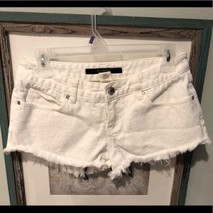 Billabong White Denim Cut-Off Shorts Embroidered